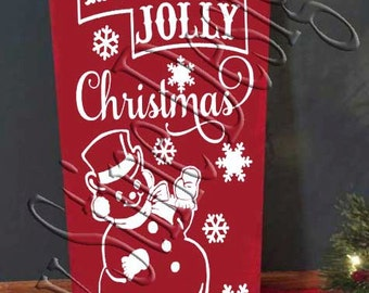 Holly Jolly Christmas Snowman  SVG, PNG, JPEG
