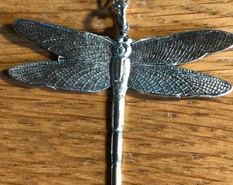 "Sterling Silver Dragon Fly Pendant on 16"" Chain"