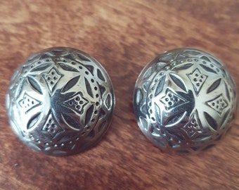 Vintage 1980s Silver Plated Clip On Earrings