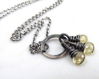 Lemon Quartz Gemstone Trio Necklace, Gemstone Necklace, Sterling silver Necklace