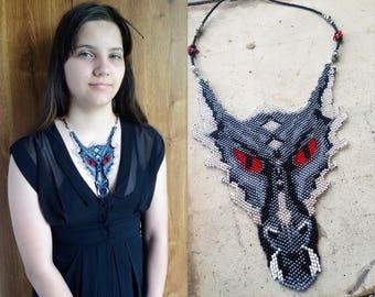 Dragon Necklace, dragon head, gothic Necklace, fantasy, dragon jewelry, silver dragon, dragon Pendant art bib