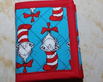 Quilted Wallet -Dr Seuss Cat in the Hat Red Blue