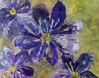Purple flowers with chartreusse and blue details