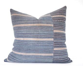 22x22 Striped Terracota Blanket Pillow Chinese Vintage Kilim Style Boho