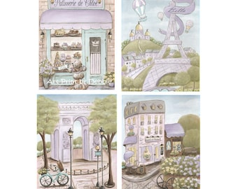 Purple Paris Nursery, Paris Bedroom Decor, Set Of 4 Personalized Paris Prints For Girls Paris Themed Bedroom, Soft Vintage Lavender, 6 Sizes