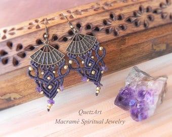 Macrame Bohemian Earrings 'SUKHA'. AMETHYST Tribal Bellydance earrings. BOHO chic Gypsy earrings. Beach Wedding Jewelry Gift for Her.