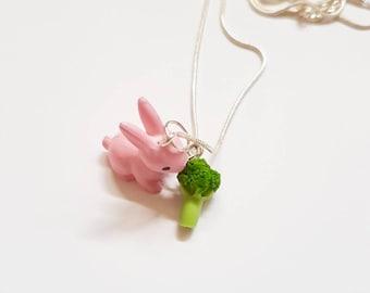 Rabbit Necklace - Bunny Necklace - Woodland creatures - Easter necklace - Bunny Pendant - Broccoli