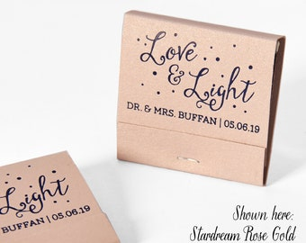 LOVE & LIGHT Matchbooks - Wedding Favors, Wedding Matches, Wedding Decor, Custom Matches, Custom Matchbook, Sparkler Send Off Matches, Blush