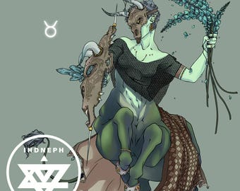 Taurus Square Print    Print/Illustration/Wall Art/Art Print/Spiritual/Witch/Astrology/Zodiac