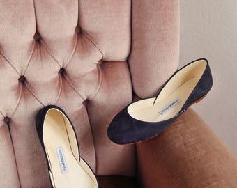 The Navy Blue Nubuck Ballet Flats | Pointe Style Shoes | Classic Model | Standard Width | Navy Nubuck | Ready to Ship