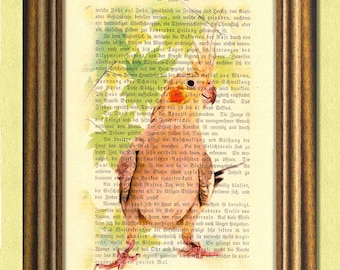 SANSA the COCKATIEL  -Parrot -Parakeet -Dictionary art print -Recycled antique book page