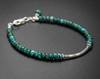 Natural Turquoise bracelet - Turquoise, and Karen Hill tribe silver handmade semiprecious stone stackable bracelet, turquoise jewelry