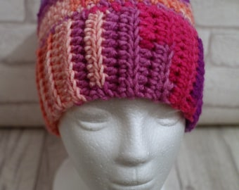 Made to Order Ponytail hat, messy bun hat, crochet, pinks, purples, joggers,
