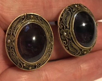 Antique Chinese Filigree Silver & Amethyst Earrings