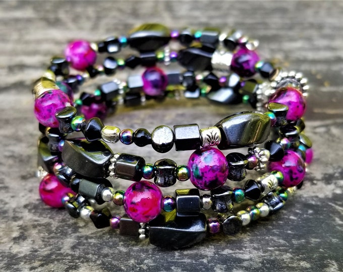 ONE OF A KIND: Steel, Gunmetal & A Pop of Pink Memory Wire Bracelet