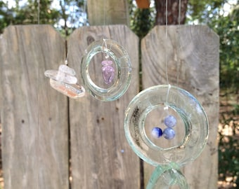 sea foam, natural stones GLASS WINDCHIME from RECYCLED bottles, chakra healing, metaphysical windchimes, chakra stones, garden decor