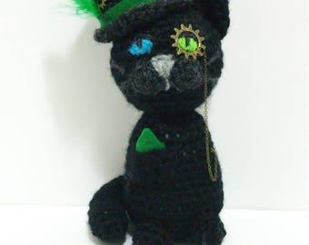Black cat plush - black cat for her - Plushy black cat - Cat art plush - ooak cat doll - cat art stuffed - ooak cat toy -  black cat