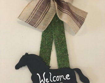 Horse welcome door sign