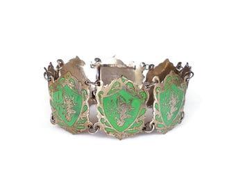 Siam Sterling Green Enamel Bracelet - Goddess Mekkala, Goddes of Lightning, Thailand Jewelry, Religous Deity, Vintage Bracelet
