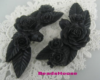 20%off   2Pcs Pretty Huge Rose Branch Cabochon,Black
