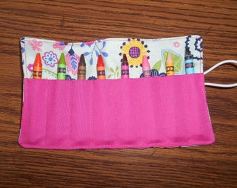 Blue flower crayon roll up 8 count regular or jumbo