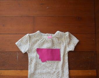 Leopard print Montana Onesie / 3 months / Hot pink polka dot Montana Applique