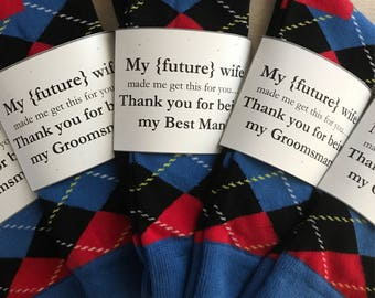 "Fabulous ""Groomsman"", ""Officiant"", ""Usher"" and/or ""Best Man"" Wedding Gift ""My (Future) Wife Made Me Get This For You"" Sock Labels!"