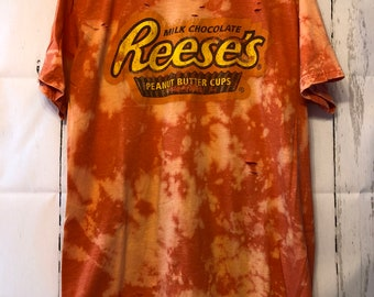 Bleached and Ripped Distressed Reese's Peanut Butter Cups Shirt