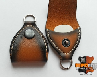 Leather Guitar Pick Case • Guitar Player Gift • Guitar Pick Keychain