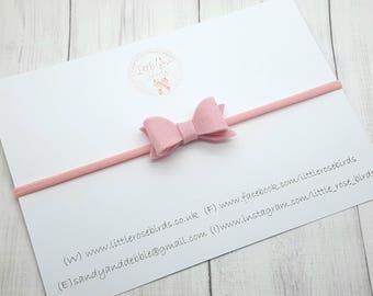 "Pink Baby Girls 2"" Small Felt Hair Bow - Small Felt Hair Bow - Newborn Headband - Baby Bows - Hair Bow - Hair Clip - Girls Hair Accessories"
