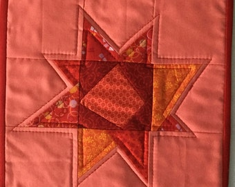 Quilted Red Wonky Star Mug Rug