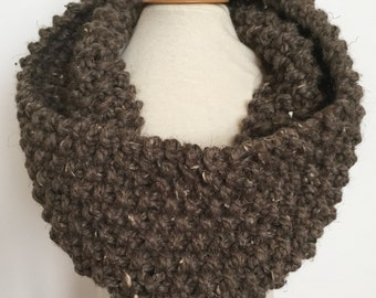 classic moss stitch knit cowl/scarf/infinity scarf for adults ~ acrylic/wool ~ barley ~ great holiday gift ~ from lillybelle designs