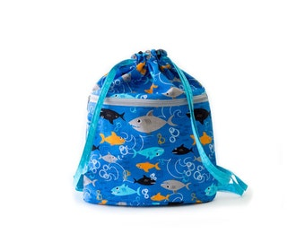 Shark Drawstring Backpack, Blue, Gray, Orange, Black, Cotton Fabric, Handmade