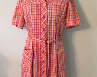 1950s Vintage Shirtdress/Red,Orange,Light Blue/Mid Century Print Cotton  ~SALE~