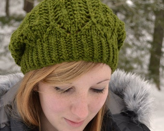 Hat Knitting PATTERN PDF, Knitted Hat Pattern, Slouchy Knit Hat Pattern - Hemlock Ridge