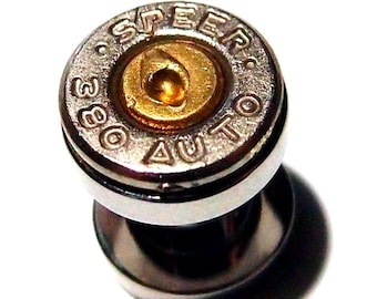 Womens bullet ear gauges  small 380 Cal Bullet ear gauges Earring Bullet Shell u pick your gauge nickel & brass bullet gauges, bullet guages