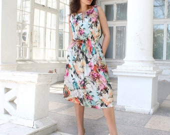 Chiffon Dress, Floral Dress, Oversized Dresses,  Summer dress, Bohemian Dress, Plus Size Dress, Midi Dress, Maxi Dress, Long Dress