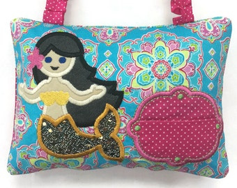 Girl's Tooth Fairy Pillow Mermaid - Child's Tooth Fairy Pillow - Baby Teeth Keepsake