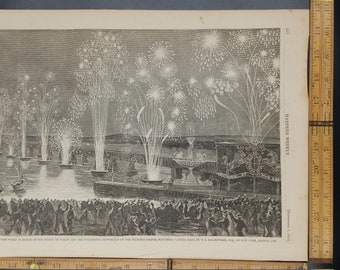 Grand Finale of Fire Works in Honor of the Prince of Wales and Completion of Victorian Bridge,from 1860.Large Antique Engraving, About 11x15