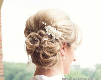 Floral Wedding Hair Piece, Bridal Hair Accessories, Bridal Hair Flower, Bridal Hair Adornment, Wedding Hair Flower, Grace Hair Comb