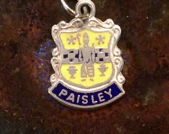 Paisley Scotland vintage sterling silver enamel travel shield charm necklace pendant or keychain charm