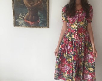 1980s red floral button down dress with pockets