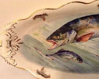 Fish Platter Iris E.P.P. Company 20.5x8.5 Rare
