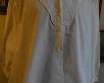 """1860's, 38"""" bust, white cotton broadcloth bed jacket,"""