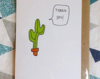 Cactus Thank You Card -  A7 blank card