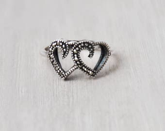 Vintage Sterling Silver Heart Ring - sparkly marcasites double interlocking open hearts - Size 7 sweetheart Valentine's Day gift