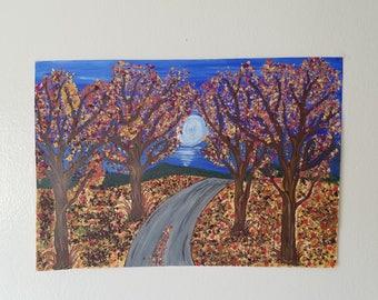Scenic Moonlight art in fall season using dried rose petals