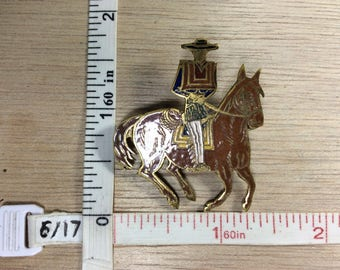 Vintage Brass Enamel Chilean Man Riding Horse Used