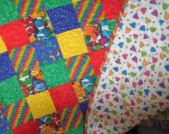 Bright patchwork Toddler lap quilt Clown Fish Quiltsy Handmade