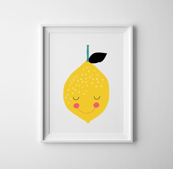 Baby nursery print lemon lemon nursery wall art lemon